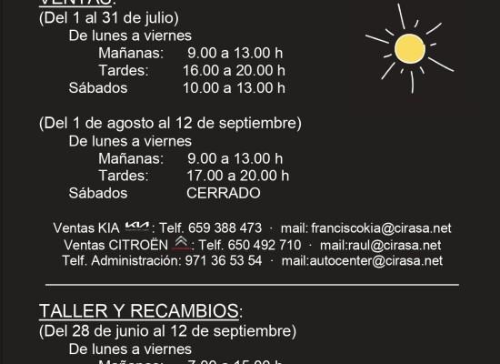 Horario Verano Autocenter Menorca