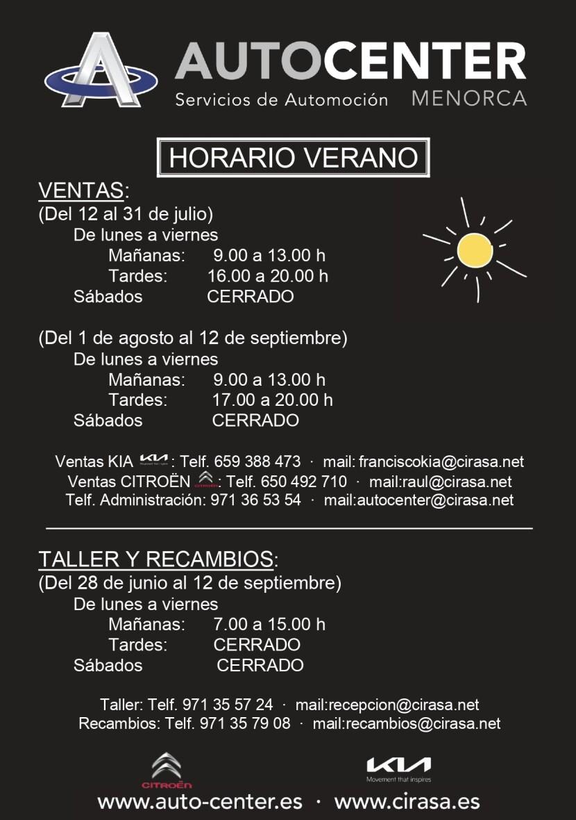 Cambios horario verano Autocenter Menorca